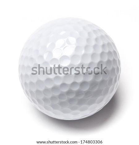 White golf ball isolated on white background - stock photo