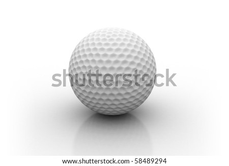 White golf ball isolated on white background - stock photo