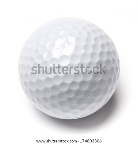 White golf ball isolated on white background. Stock image photographed in studio. - stock photo