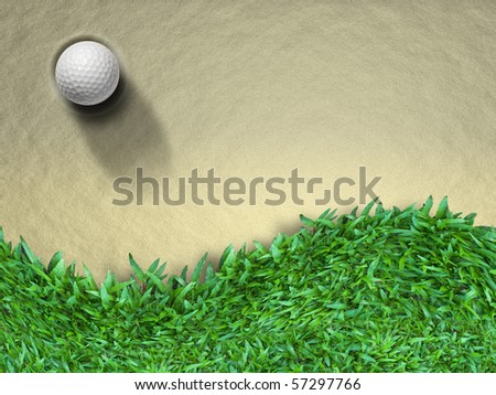 White Golf ball on sand and green grass - stock photo