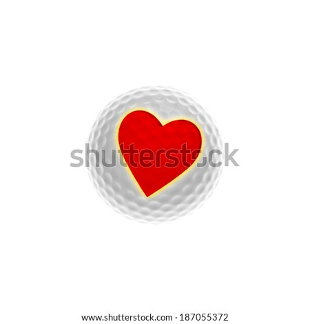 White golf-ball with red heart - isolated on white - stock photo