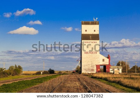 White grain elevator in Aberdeen, Saskatchewan. - stock photo
