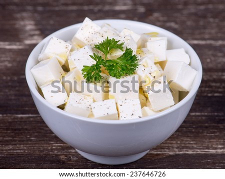 White greek cheese in pate, close up - stock photo