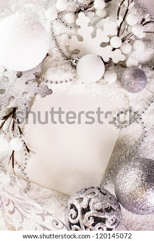 White greeting card for Merry Christmas and Happy New Year - stock photo