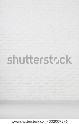 White grunge brick wall - stock photo