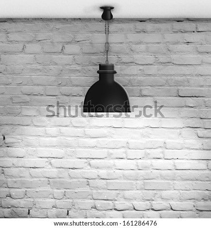 White grunge brick wall and black plafond are lights wall - stock photo