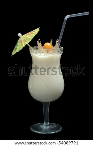 White Guanabana Smoothie in Cocktail Glass Decorated with a Paper Sunshade, a Drinking Straw and a Physalis Fruit on Black Background