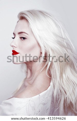 white hair and red lips woman - fashion portrait