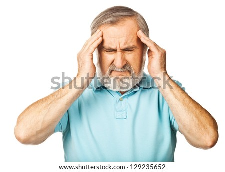 White haired man having headache isolated over white background - stock photo