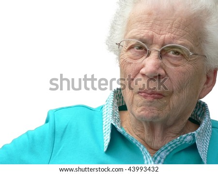 White-haired woman isolated on white background. - stock photo