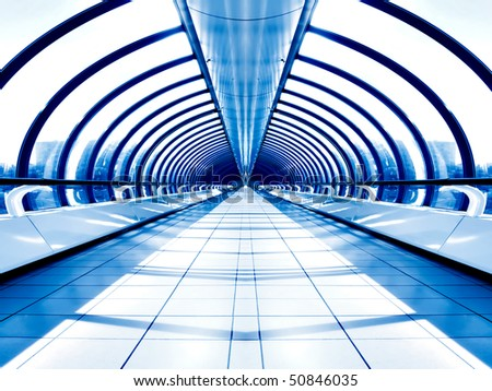 White hall of office centre - stock photo