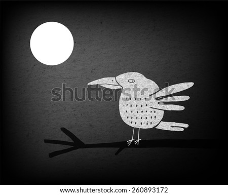 White hand drawn bird on a branch and full moon, at night, vector illustration - stock photo