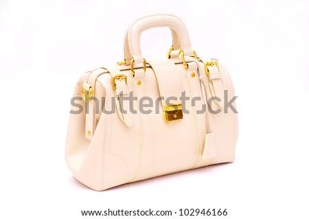 White Handbag isolated on white - stock photo