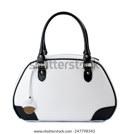 White handbag with black handles isolated on white background. - stock photo