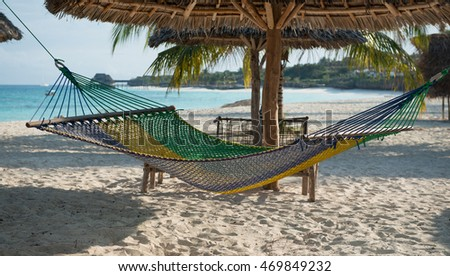 white handmade hammock with palm tree on clean Zanzibar beach and clear ocean on the background