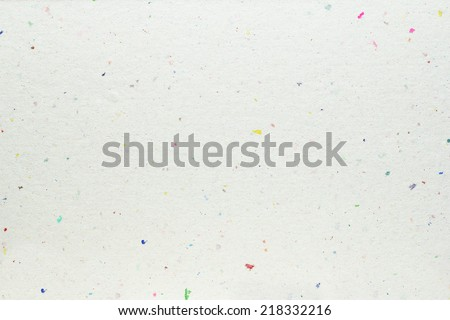 white handmade paper texture with colorful spots - stock photo