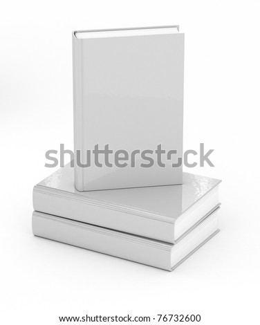 White hard cover books over white background - stock photo