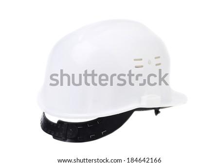 White hard hat. Isolated on a white background. - stock photo