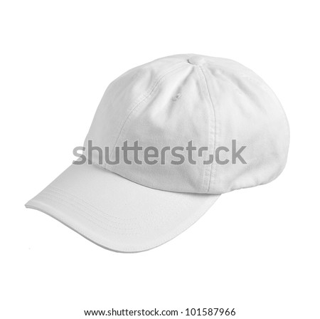 white hat isolated on a white background - stock photo