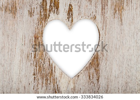 white heart cut out wood  - stock photo