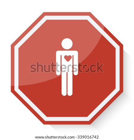 White Heart icon on red stop sign web app