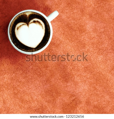 white heart in white cup coffee - stock photo