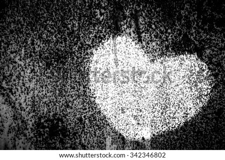 White heart painted on wall background,Love concept