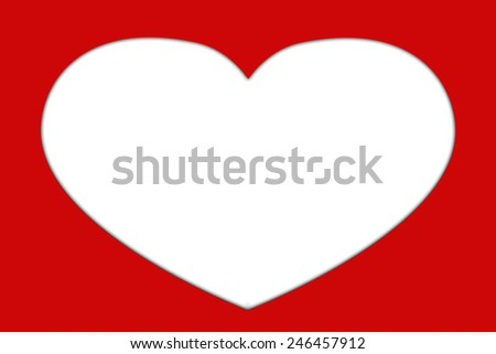 white heart shape illustration on red background for digital photo frame - stock photo