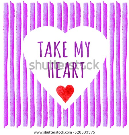 White heart shape on purple lavender stripe painted in watercolor watercolor creative greeting cards