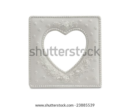 White Heart Shaped Frame Isolated on a White Background. - stock photo
