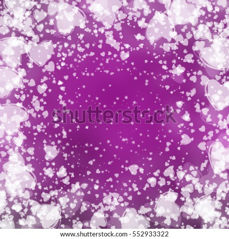 white hearts Valentine's day purple background