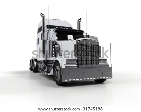 White heavy truck isolated on white background - stock photo