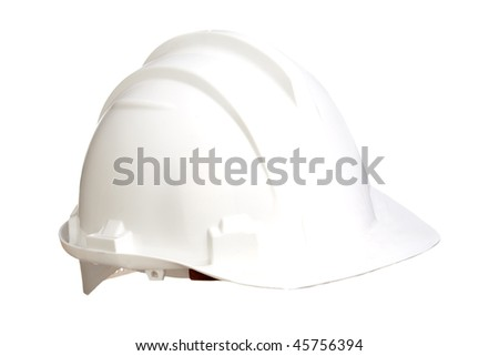 White helmet isolated on a over white background - stock photo