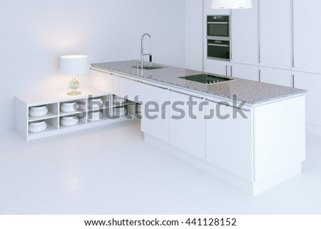 White hi-tech kitchen interior design. Perspective view 3d render