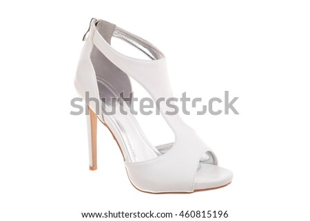 White high heel woman shoe isolated on white background