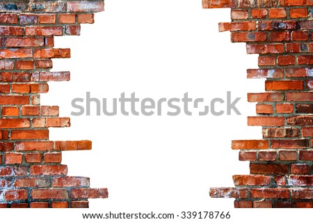 White hole in the brick wall. Stock illustration. - stock photo