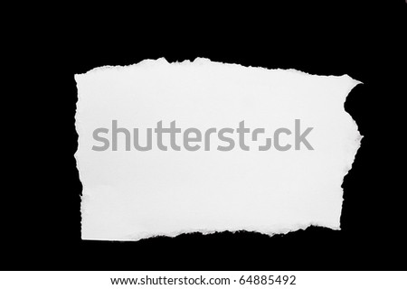 white hole torn in a piece of black paper - stock photo