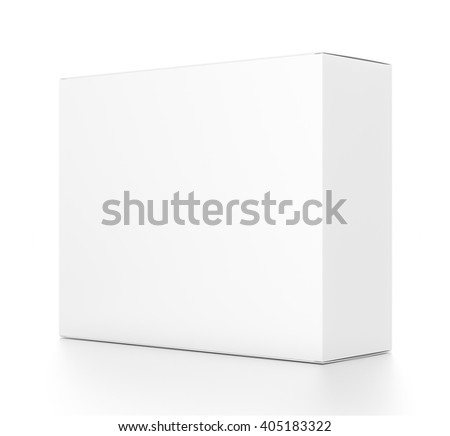White horizontal rectangle blank box from side angle. 3D illustration isolated on white background. - stock photo