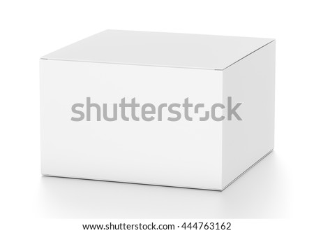 White horizontal rectangle blank box from top side far angle. 3D illustration isolated on white background. - stock photo