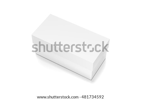 White horizontal rectangle blank box with cover from top side closeup angle. 3D illustration isolated on white background.