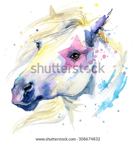 white horse T-shirt graphics. white horse illustration with splash watercolor textured background. unusual illustration watercolor white horse for fashion print, poster, textiles, fashion design - stock photo