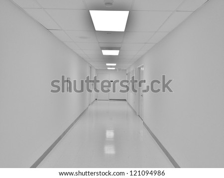 White Hospital Hallway - stock photo