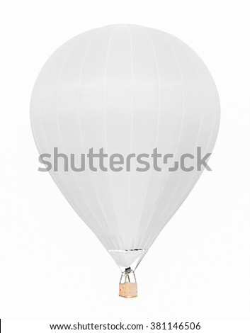 White hot air balloon with basket isolated on white background - stock photo
