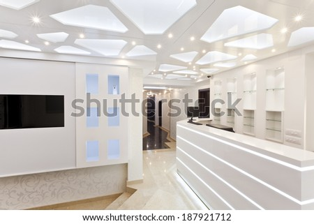 white hotel reception empty space - stock photo