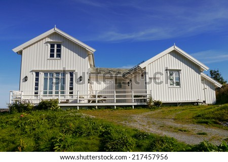 White House. A typical Norwegian wooden house on the Lofoten Islands.