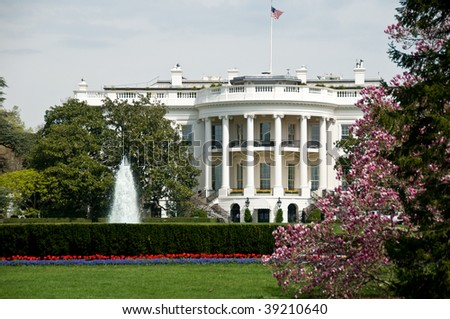 White House from the South Lawn in spring - stock photo