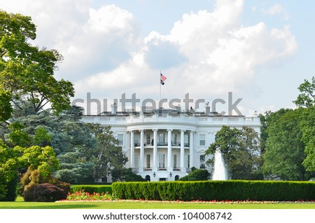 White House in a cloudy spring day - Washington DC - stock photo