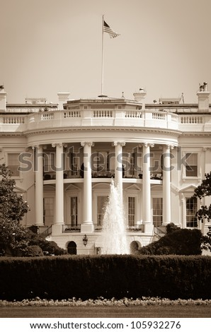 White House in sepia - Washington DC United States - stock photo