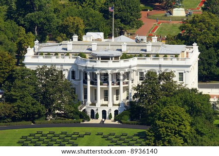 White house in Washington, photo taken from monument. - stock photo