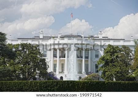 White House on deep blue sky background - stock photo